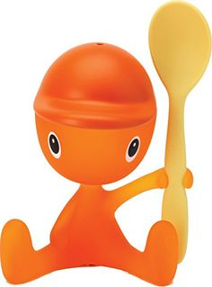 """Alessi """"Cico"""" Egg Cup With Salt Castor And Spoon in Thermoplastic Resin, Sweet Orange"""