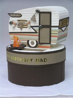 The 3D Trailer in the CAMP FIREFLY SVG KIT is simply fabulous and Tracey made one for her Dad's birthday! Isn't it lovely in these colors! Looks like the real thing sitting on top of the box, which is great in the solid colors!