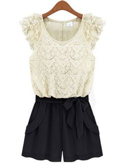 Lace Rompers White And Black
