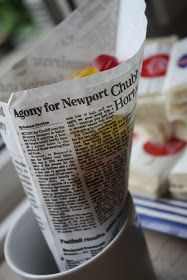 newspaper chips -- british pub theme party