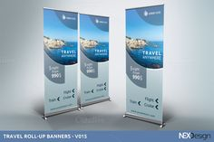 Travel Roll-Up Banners - Corporate Presentation, Presentation Design Template, Design Templates, Business Brochure, Business Card Logo, Rollup Banner, Banner Stands, Business Illustration, Cruise Travel