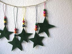 DIY Felt star and bead ornaments
