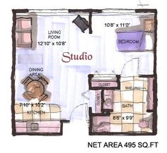 400 sq ft layout with a creative floor plan actual