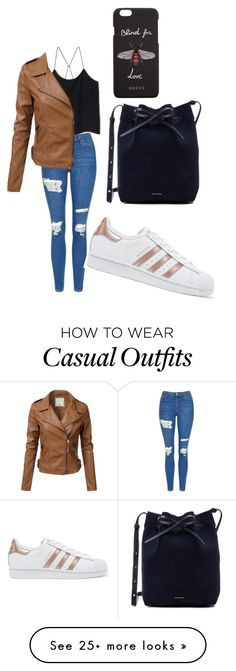 """Casual"" by bunnysupergirl on Polyvore featuring Topshop, adidas Originals, Mansur Gavriel and Gucci"