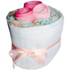 Baby Bib Bundle - Pink Nappy Cake | Baby Gifts  Baskets.  #Baby #shower #gift #ideas, ideas for baby, baby girl gift. http://www.heritagehampers.com/gift-types/baby-gifts-nappy-cakes/baby-bib-bundle---pink-nappy-cake---baby-gifts