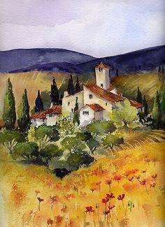 Impression photo 'Evening in Tuscany' par artbyrachel Watercolor Architecture, Watercolor Landscape Paintings, Landscape Art, Watercolor Paintings, Watercolours, Pictures To Paint, Art Pictures, Watercolor Pictures, Watercolor Techniques