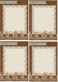Brown Craft Paper, Lace and Birdhouse Journal Cards