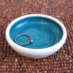 Tiny Peacock Blue Pottery Bowl  Ring Holder by KarinLorenc on Etsy, $8.00