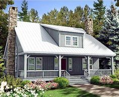 Architectural Designs Rustic House Plan 58555SV  Two 11' deep porches provide shade and a wonderful place to relax. And a 44'x11' foot porch runs across the back as well!