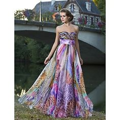 Sheath/Column Sweetheart Strapless Floor-length Chiffon Evening Dress With Flower(s) – USD $ 244.99
