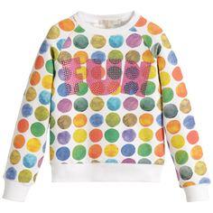 Girls White Sweatshirt with Vibrant Polka Dots, Silvian Heach, Girl
