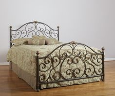 Bronze and Gold Metal Bed | Brian's Furniture