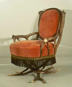 Great Antique Black Forest Antler Easy Chair Austria CA 1880