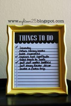 dry erase Things To Do: Frame - free printable!