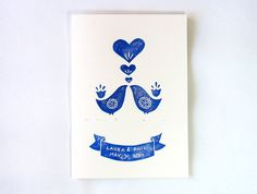 Custom love bird block print wedding/anniversary print to frame and hang. Made by Paper Planes & Mud Pies.