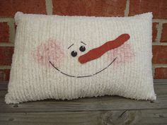 Chenille Snowman Pillow by AppleBerryCreations on Etsy