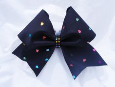Cheer bow-black with holographic multi colored hearts and rhinestone center-cheerleading bow-cheerleader bow-dance bow-cheerbow-softball bow - pinned by pin4etsy.com