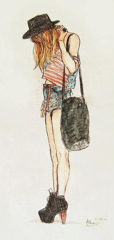 Lovely shoes, high waisted shorts, American flag tank, hat,and bag #FashionDrawings