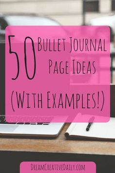Cover page for blog post, '50 Bullet Journal Page Ideas (With Examples!)'