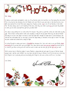 Personalized Letters From Santa Delivered From The North Pole! Christmas Letter From Santa, Santa And His Reindeer, Christmas Poems, Christmas Labels, Christmas Activities, Kids Christmas, Christmas Crafts, Christmas Decorations, Letter From Santa Template