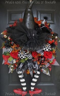 "Halloween Wreath   -                                     Witch Wreath  -  ""WiCkEd WiTcH w/her Ruby Red Slippers""   Follow us on Facebook: by ksrose"