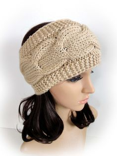 Cable Hand Knitted Headband. Beige or 44 Different Colors. Ear Warmer. Head wrap. Hairband. Warm Fall Winter Accessory for Women and Teens. by VividBear on Etsy