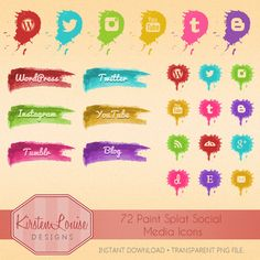 72 Paint Splat Social Media Icons by KirstenLouiseDesigns on Etsy, £3.00