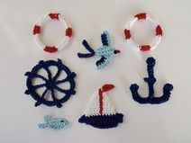 crochet nautical applique, boat, anchor, weel