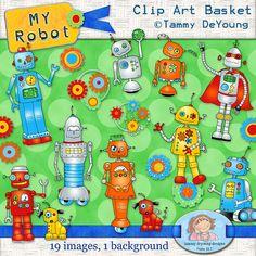 Robot Clip Art *Superhero Robot Clipart* Digital retro robot art for invitations, bithday party favors, scrapbooks, handmade greeting cards