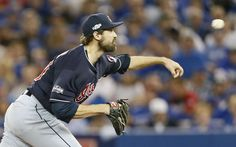 Closing time:    Cleveland Indians relief pitcher Andrew Miller delivers a pitch against the Toronto Blue Jays during the eighth inning in Game 3 of the American League Championship Series at Rogers Centre on Oct. 17 in Toronto. The Indians won 4‐2 to take a 3‐0 series lead.