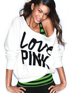 VS Pink Slouchy Crew in Slouchy White