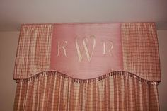 custom baby girl pink nursery curtains window treatments valance monogram personalized initials curtains
