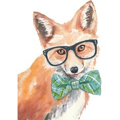 Red Fox PRINT - Watercolor Painting PRINT, Nerd, Nursery Art, Funny... ($19) ❤ liked on Polyvore featuring home, home decor, wall art, animals, pictures, art, fillers, red painting, animal paintings and watercolor painting