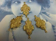Raw Brass Ornate Brass Jewelry  Connectors 38RAW x4