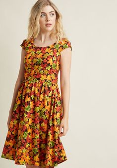 Autumn Leaf Festival A-Line Dress in Maples in XS, #ModCloth