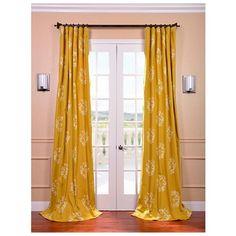 Isles+Mustard+Printed+Cotton+Curtain+Panel