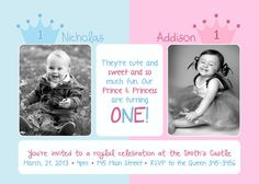Twins Siblings Prince Princess Photo Birthday by PhotoInvitations, $1.50