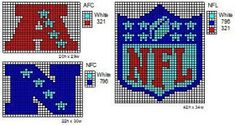 These are the NFL logo and name plate patterns that I use to make scarfs and beenie hats. Here is a pattern for th. Perler Patterns, Peyote Patterns, Loom Patterns, Beading Patterns, Crochet Patterns, Loom Beading, Crochet Ideas, Crochet Projects, Diy Projects