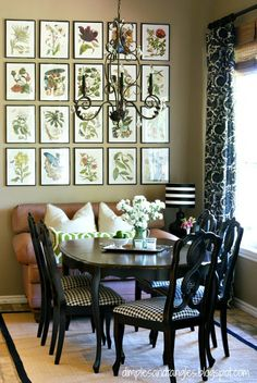 A beautiful, botanical wall grouping - all perfectly arranged for those of us who appreciate symmetry. What a way to really make a dining space something special!