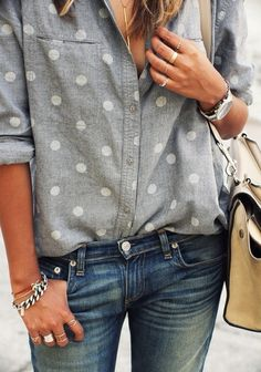 Denim on denim with a polka dot button-up.