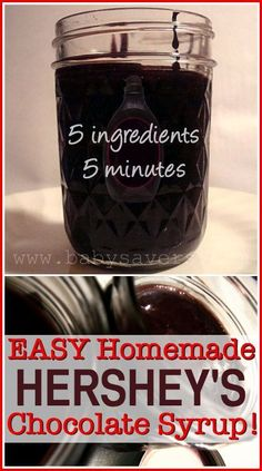 5 minute copycat recipe for Hershey's chocolate syrup. I made this last night and it tastes just like the real thing!