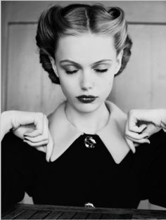 Vintage hairstyle inspiration; stylish black & white fashion photography // Miu Miu editorial
