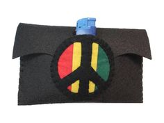 Felt tobacco pouch, rasta, reggae, hand made with the symbol of peace.