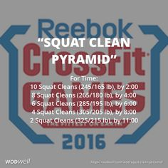 """Squat Clean Pyramid"" WOD - For Time: 10 Squat Cleans (245/165 lb), by 2:00; 8 Squat Cleans (265/180 lb), by 4:00; 6 Squat Cleans (285/195 lb), by 6:00; 4 Squat Cleans (305/205 lb), by 8:00; 2 Squat Cleans (325/215 lb), by 11:00"