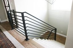Lowes Stair Handrail Handrails For Stairs Interior All The Details On Our New Horizontal Stair Railing Loves Lowes Metal Stair Handrail Metal Handrails For Stairs, Modern Stair Railing, Steel Railing, Metal Railings, Stair Handrail, Modern Stairs, Cable Railing, Front Porch Stairs, Farmhouse Stairs