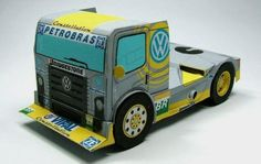 Brazilian Volkswagen Titan Race Truck Paper Model - by RacePaper  ==          What a cool paper model from German website RacePaper: a Brazilian Volkswagen Titan Race Truck, with Petrobras logos.