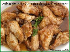 alitas_soja_miel Chicken Wings, Cooking Recipes, Food, Ideas, Gastronomia, Soy Sauce Chicken, Sweet Sour Chicken, Limeade Recipe, Tasty Food Recipes