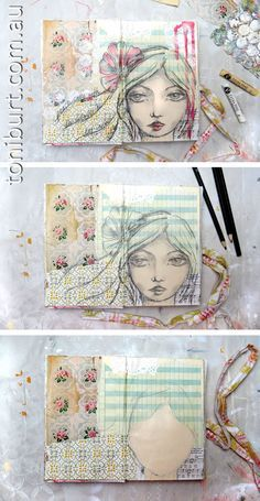 """The progress of an art journal page. Love working in mixed media and sketching over the top.... messiness, busy'ness, and simplicity all in one! """"peace came with the surrender to her inner voice"""""""