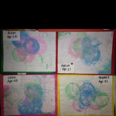 Preschool art show: bubble prints ( I mixed 2 table spoons of paint with dish soap and water. Let the kids use a straw to blow bubbles, then press paper onto the top of the cups  to make the bubble prints!)