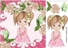 pretty little girl in flower frame with butterflies 8x8 on Craftsuprint - View Now!